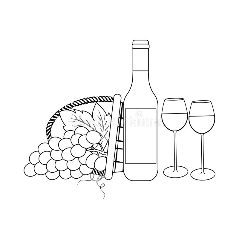 Bottle of wine and grapes. On the white background. Vector illustration stock illustration