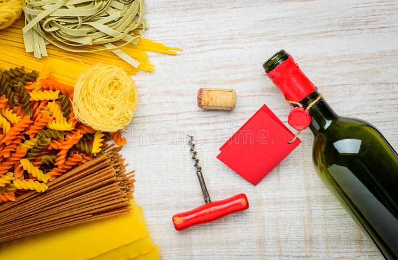 Bottle Of Wine and Italian Pasta stock images