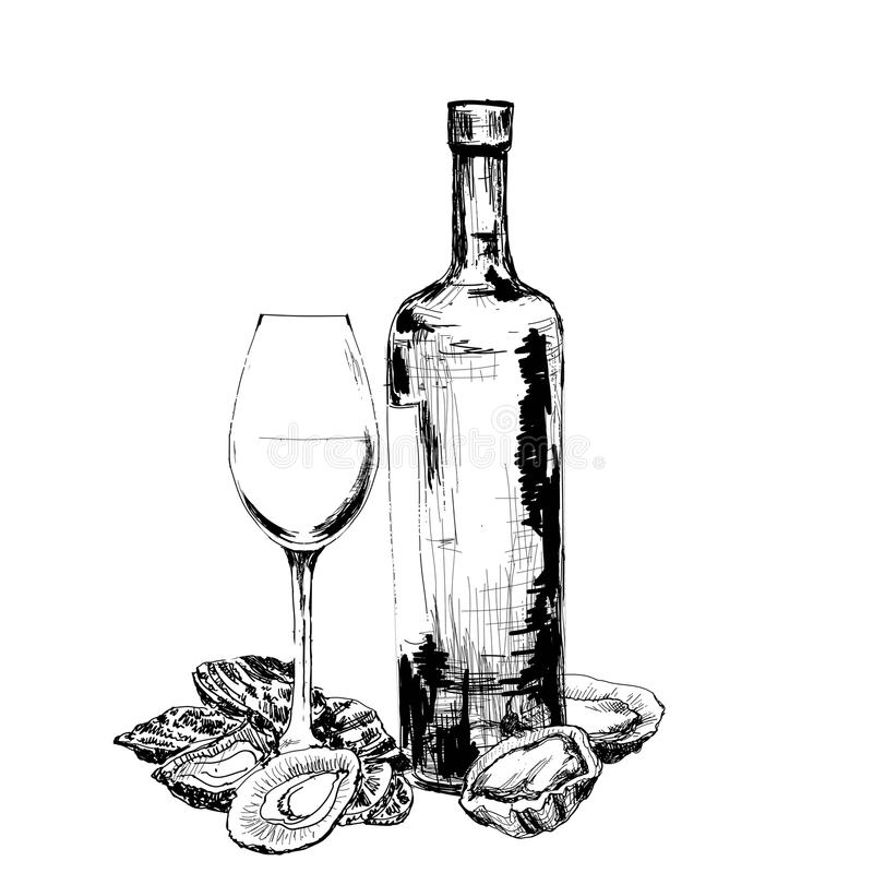Bottle of wine, oysters and glass royalty free stock photo