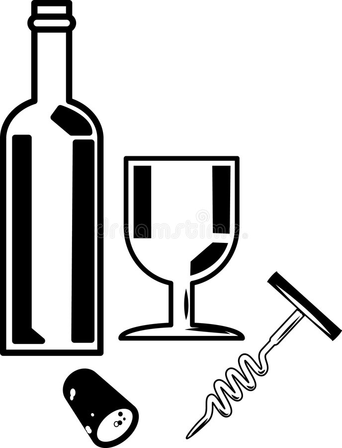 Bottle Of Wine And Wine Glass Royalty Free Stock Images