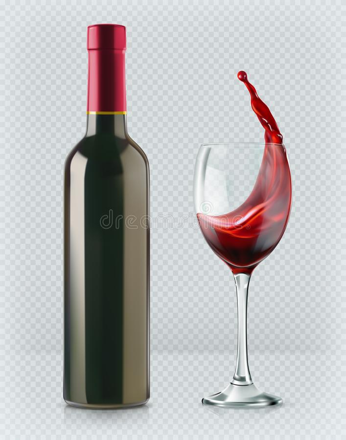 Bottle of wine and wineglass. 3d realism, vector icon with transparency. Bottle of wine and wineglass. Red splash. 3d realism, vector icon with transparency stock illustration