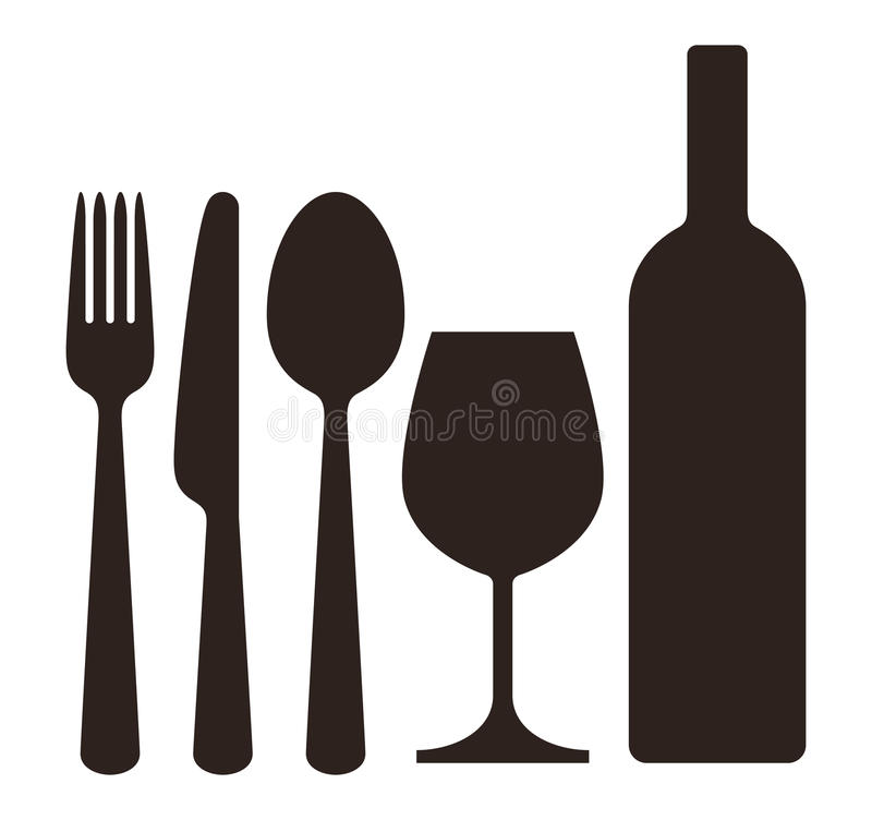 Bottle, wineglass, knife, fork and spoon royalty free illustration