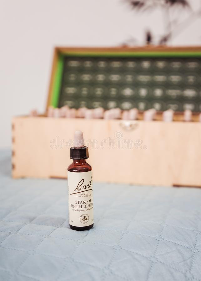 Free Bottle With Bach Flower Drops And Wooden Box With Assortments Of Bach Flower Remedies On Background Royalty Free Stock Image - 149067576