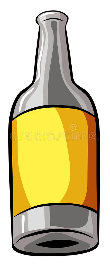 Bottle. With yellow lable on white background stock illustration