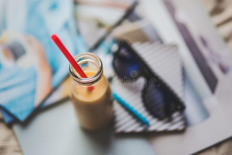 Bottle with yellow yogurt stock photography