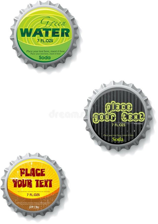 bottlecap nakrętki zakończenia stoppers ilustracji
