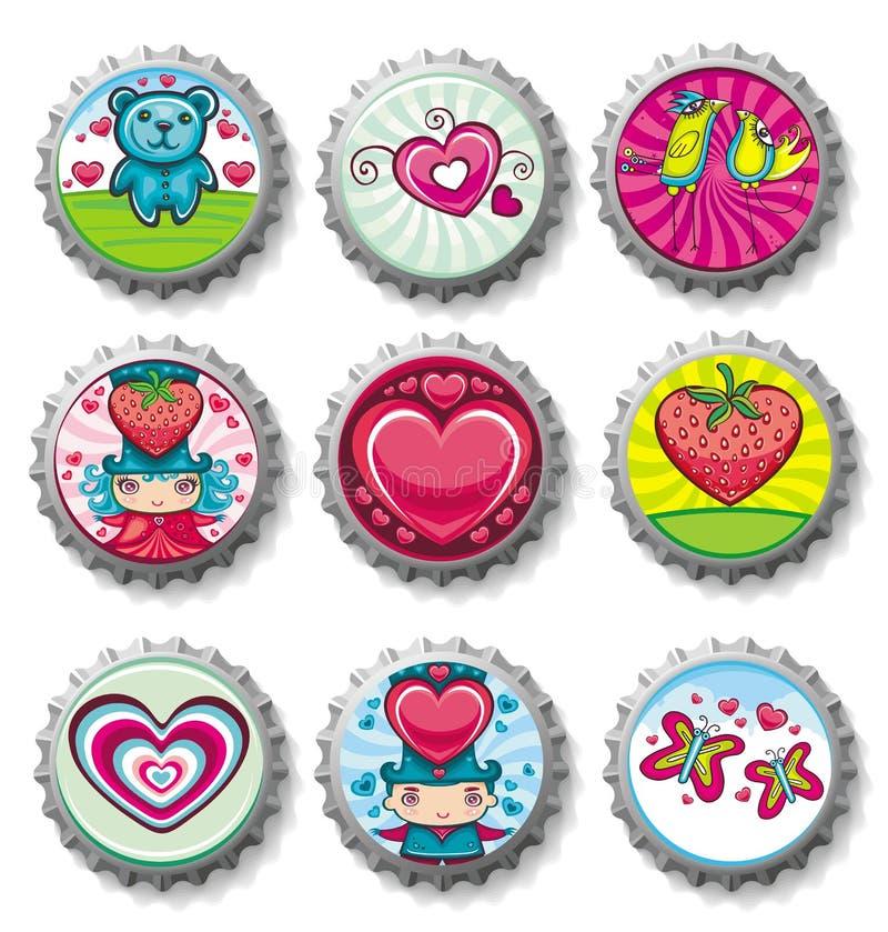 Bottlecaps del día de tarjeta del día de San Valentín - iconos ilustración del vector