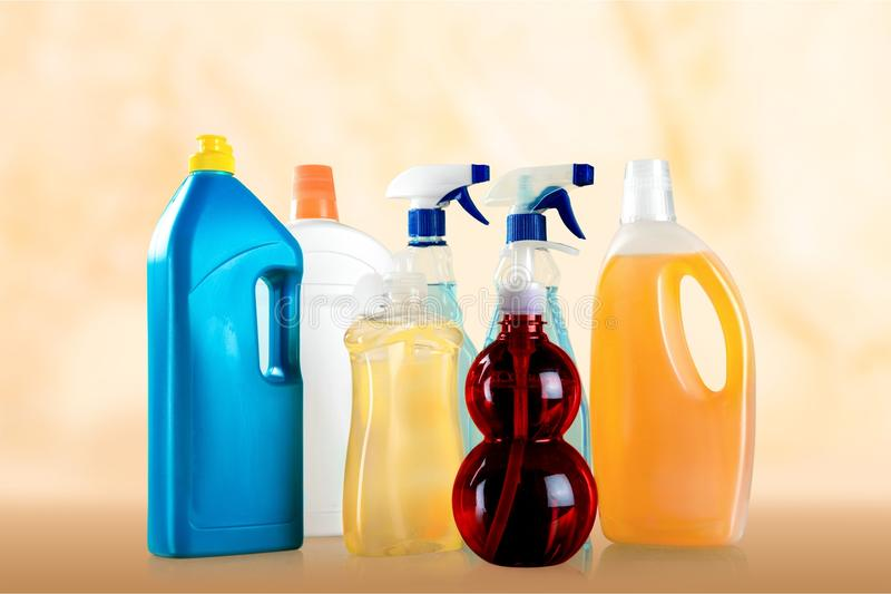 Bottled Cleaning. Chemical Plastic Container Dishwashing Detergent Clean Washing Dishes Isolated stock image