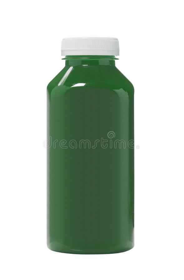 Bottled green water color isolated on white. Background stock photo