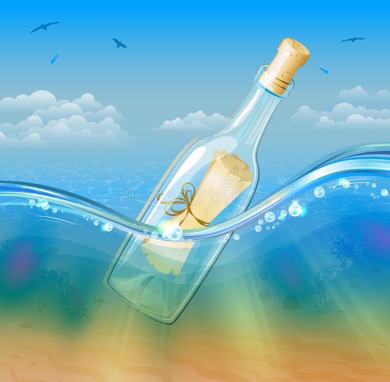 Bottled Scroll Message in deep sea water stock photo