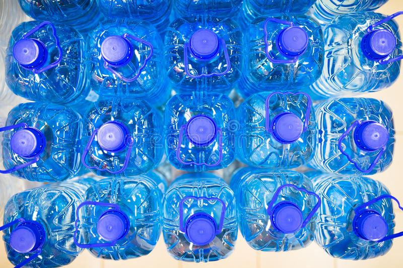 Bottled still water. Top view stock images