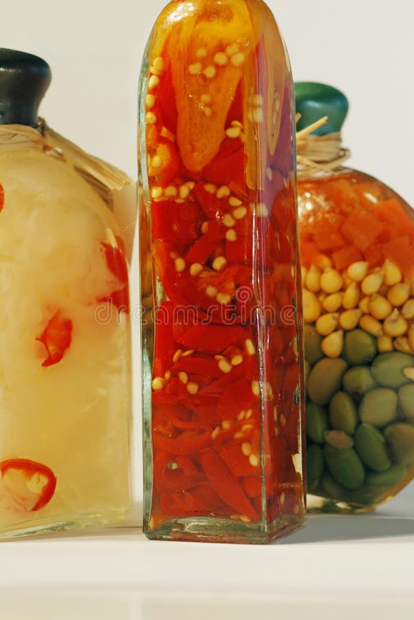 Bottled vegetables stock photo