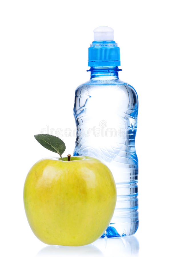 Bottled water. For healthy life over a white background stock image