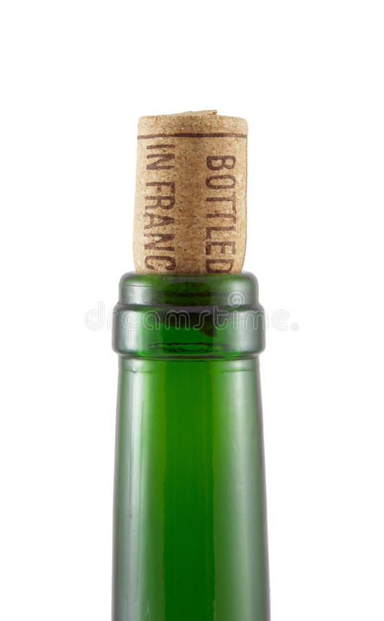 Free Bottleneck And Cork On A White Stock Photography - 13421542
