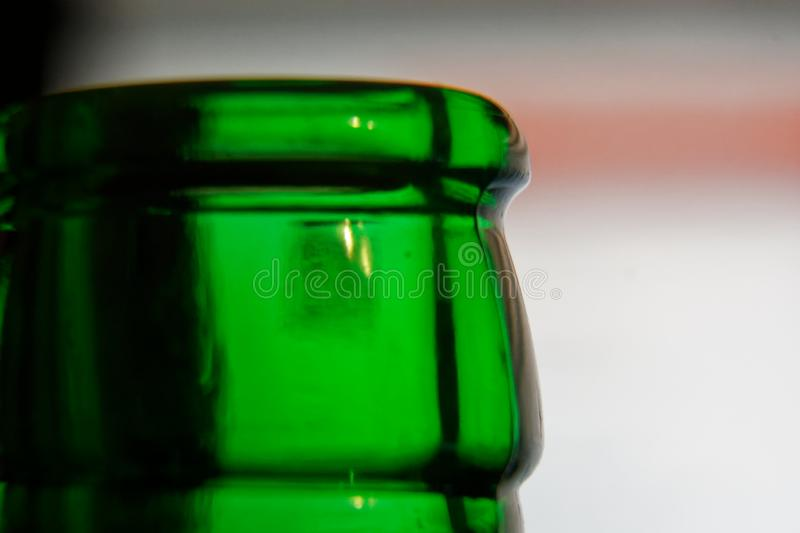 Bottleneck in green color, Empty close-up Bottle. Detox Concept. Abstinence, Alcoholism Treatment. New Years Resolutions. Becoming A New You, Promising A stock images