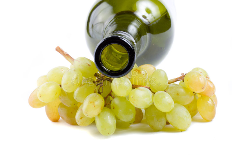 Download Bottleneck And Green Grapes Stock Image - Image of vine, juicy: 6393643