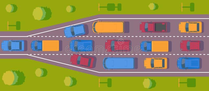 Bottleneck traffic jam. Road dence traffic on motorway or highway. Different car on road. Top view vector. Bottleneck traffic jam. Road dence traffic on vector illustration
