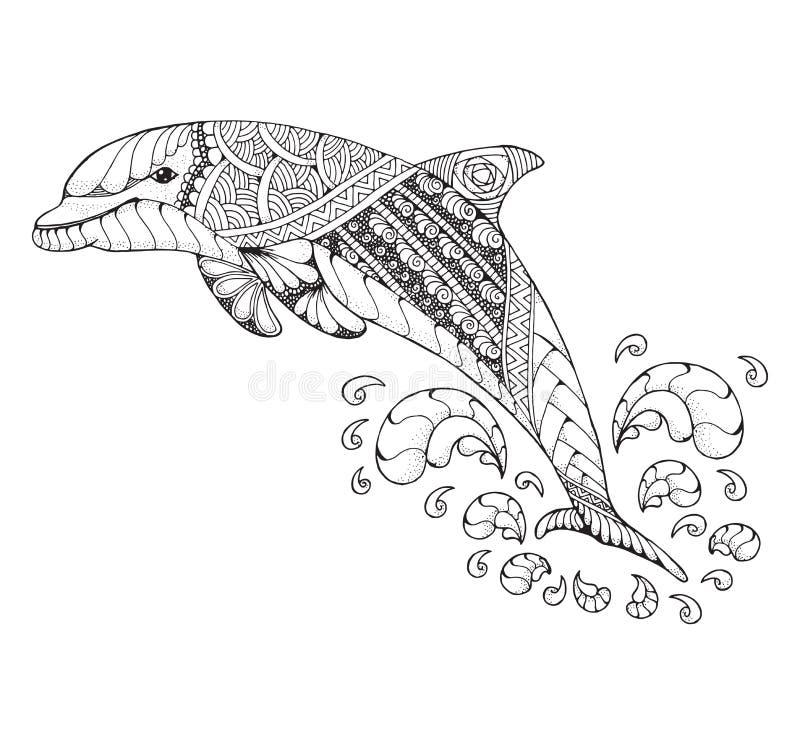 het kleuren dolfijn mandala vector illustratie