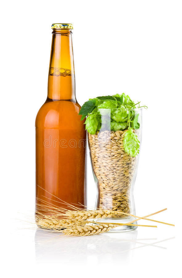 Bottler, Glass of barley and hops, Wheat ears stock images