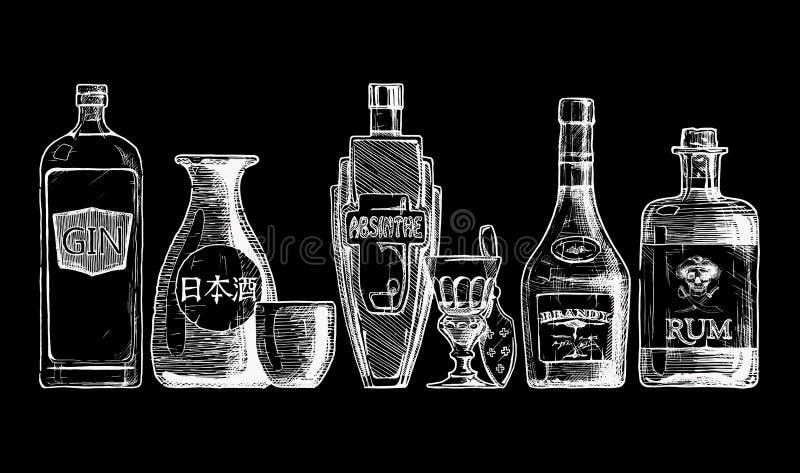 Bottles of alcohol. Distilled beverage. Vector set of bottles of alcohol in ink hand drawn style. isolated on black. Distilled beverage. Gin, sake, absinthe royalty free illustration
