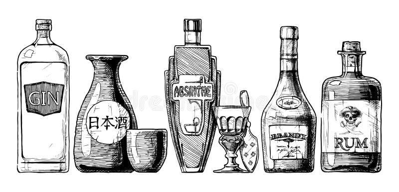 Bottles of alcohol. Distilled beverage. Vector set of bottles of alcohol in ink hand drawn style. on white. Distilled beverage. Gin, sake, absinthe, brandy, rum stock illustration