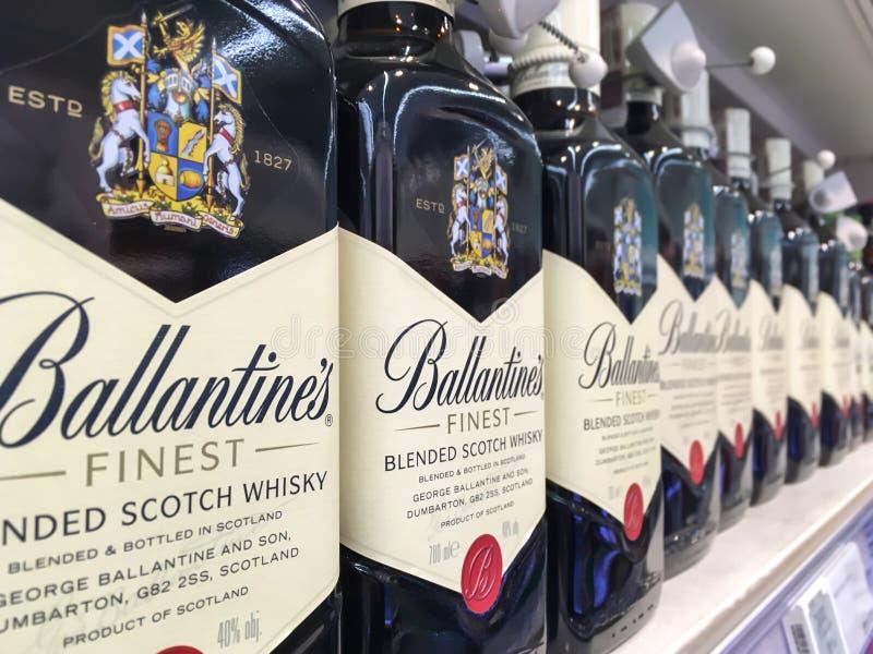 Bottles of Ballantine`s whisky stock image