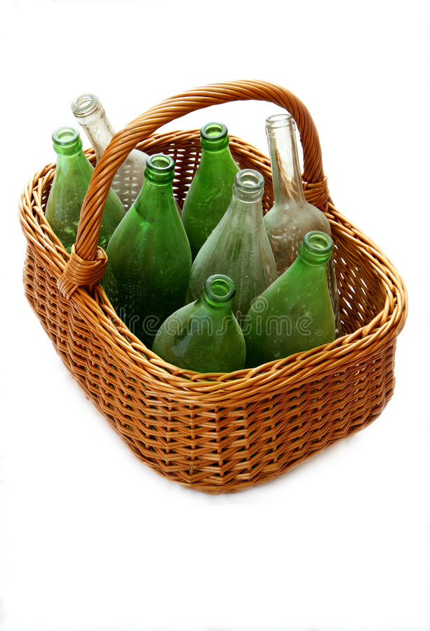 Bottles and Basket stock photos