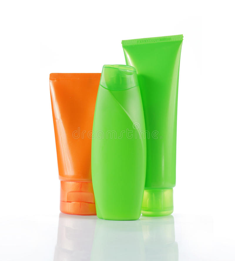 Bottles of beauty products stock photography
