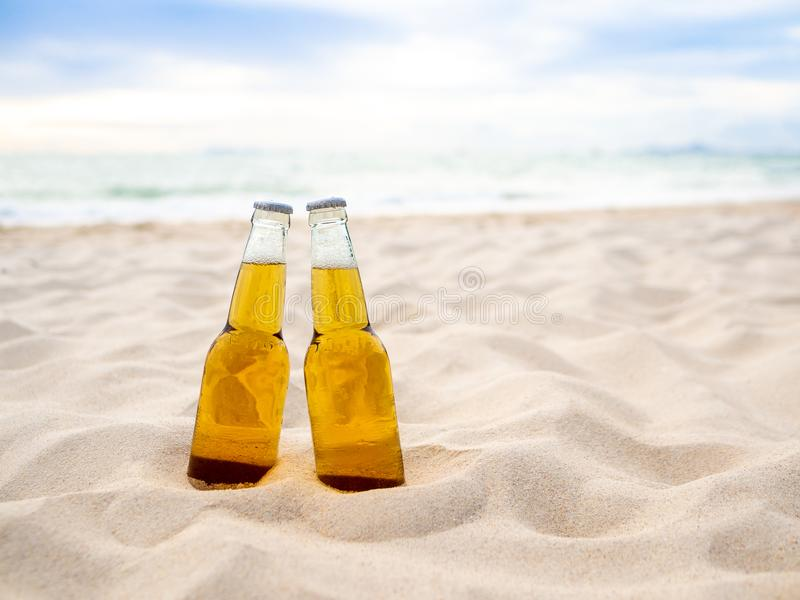 Bottles of Beer on the beach. Party, Friendship, Beer Concept. Bottles of Beer on the beach. Party, Friendship,Outdoor drink. Beer Concept stock image