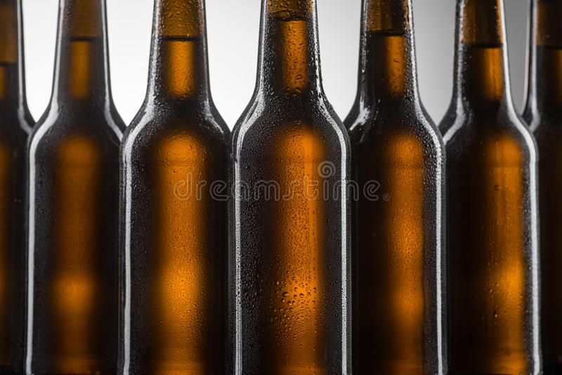 Bottles of beer in line royalty free stock photo