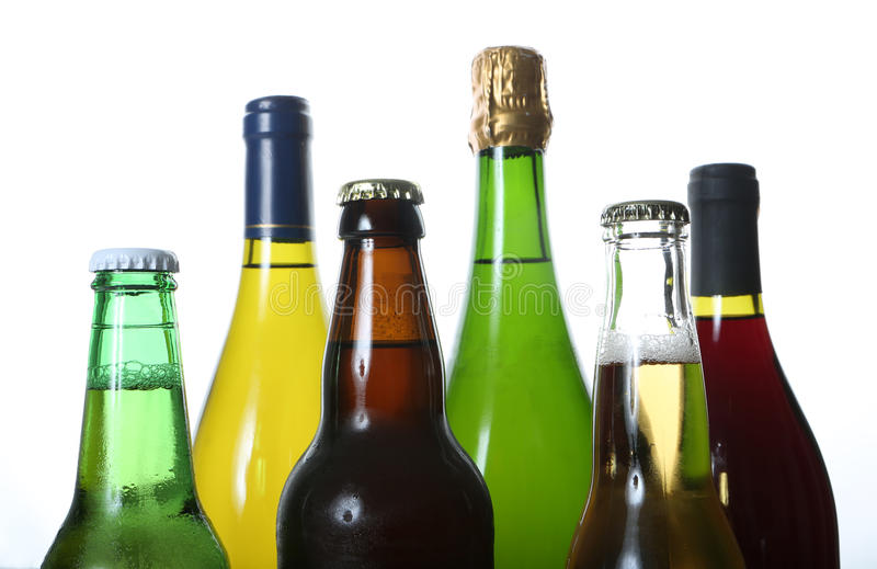 Bottles of beer and wine stock image