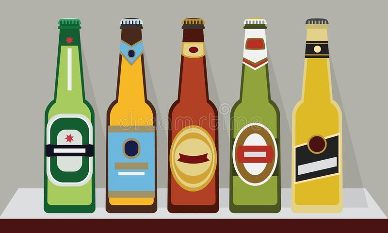 Bottles of beers with caps on a shelf, SET 2 stock illustration