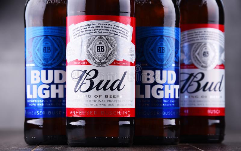 Bottles of Bud and Bud Light beer. POZNAN, POL - MAY 3, 2018: Bottles of Bud and Bud Light, popular American beers, produced by Anheuser-Busch royalty free stock photos