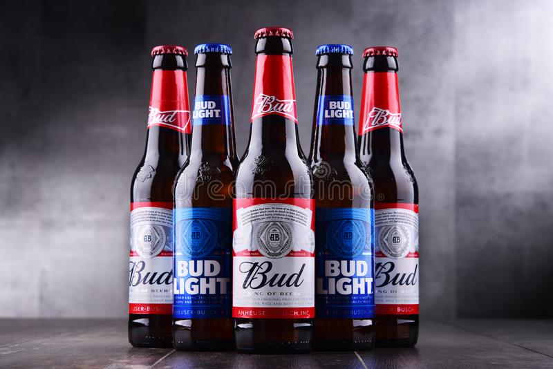Bottles of Bud and Bud Light beer. POZNAN, POL - MAY 3, 2018: Bottles of Bud and Bud Light, popular American beers, produced by Anheuser-Busch royalty free stock photo