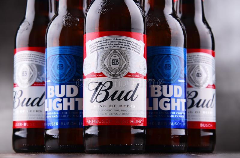 Bottles of Bud and Bud Light beer. POZNAN, POL - MAY 3, 2018: Bottles of Bud and Bud Light, popular American beers, produced by Anheuser-Busch stock photography