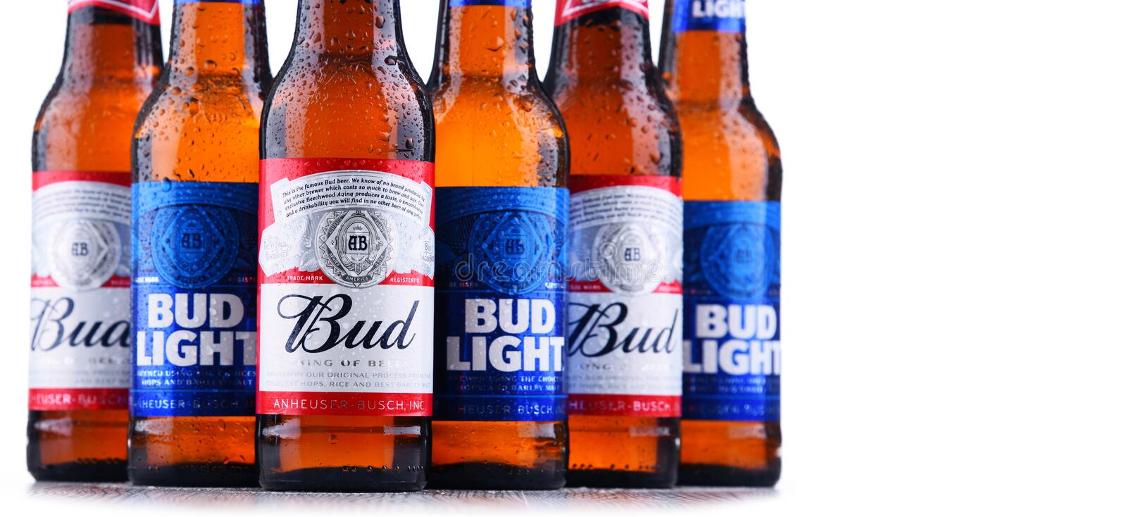 Bottles of Bud and Bud Light beer. POZNAN, POL - MAY 3, 2018: Bottles of Bud and Bud Light, popular American beers, produced by Anheuser-Busch stock image