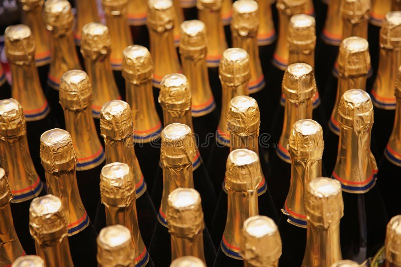 bottles champagne royaltyfri foto