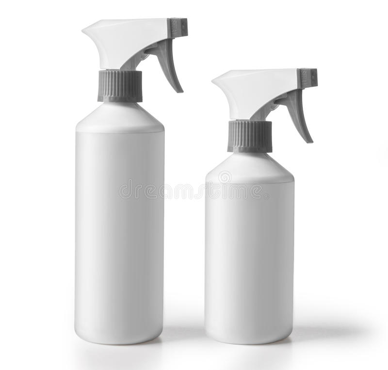 Bottles or chemical cleaning. Set of detergent bottles or chemical cleaning supplies isolated on white, with clipping path royalty free stock images