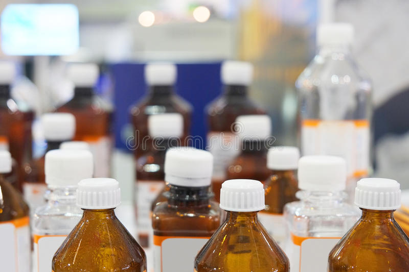 Bottles of chemicals royalty free stock photos
