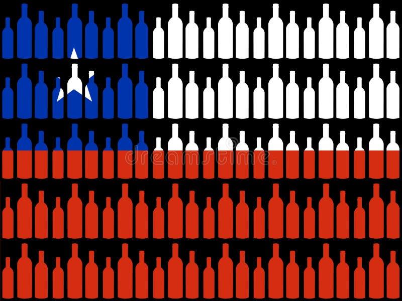 bottles chilensk flaggawine vektor illustrationer