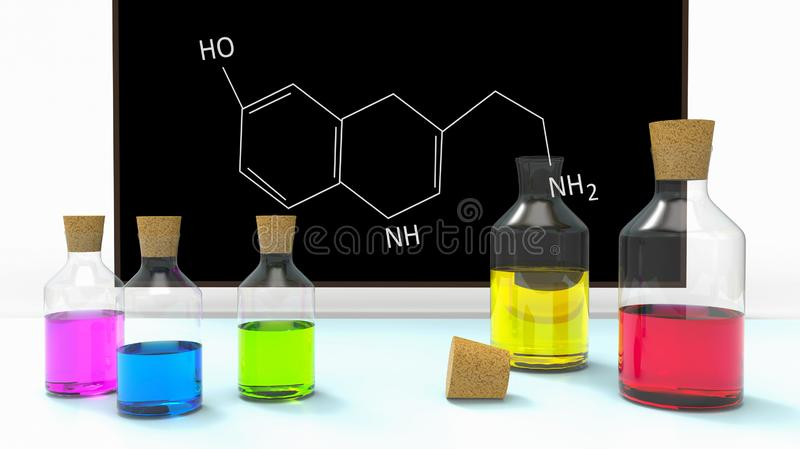 Bottles with liquid in chemistry classroom on desk royalty free illustration