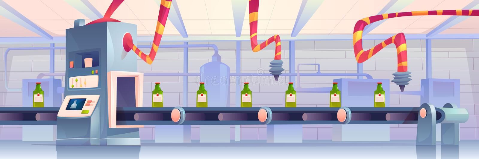 Bottles on conveyor belt at factory. Automation. Bottles on conveyor belt at factory. Production in glass flasks package moving on transporter line with robots royalty free illustration