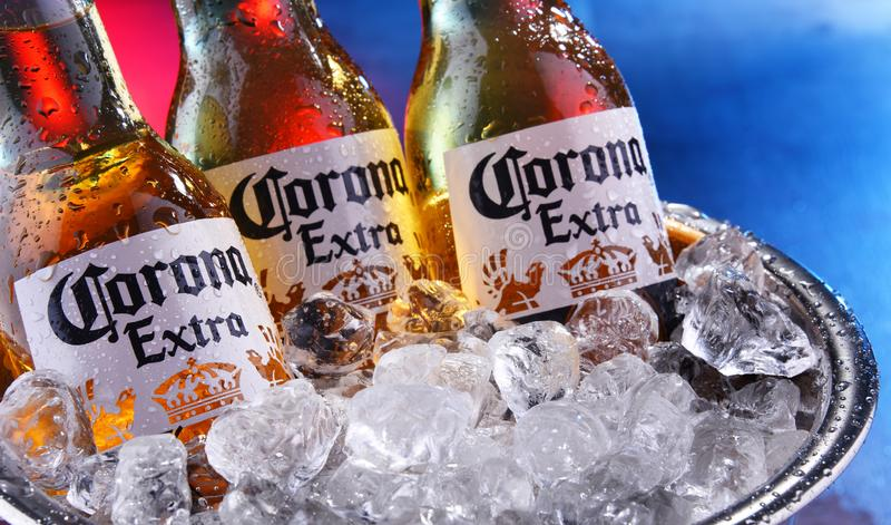 Bottles of Corona Extra beer in the bucket with crushed ice. POZNAN, POL - SEP 5, 2019: Bottles of Corona Extra, one of the top-selling beers worldwide, a pale royalty free stock photo