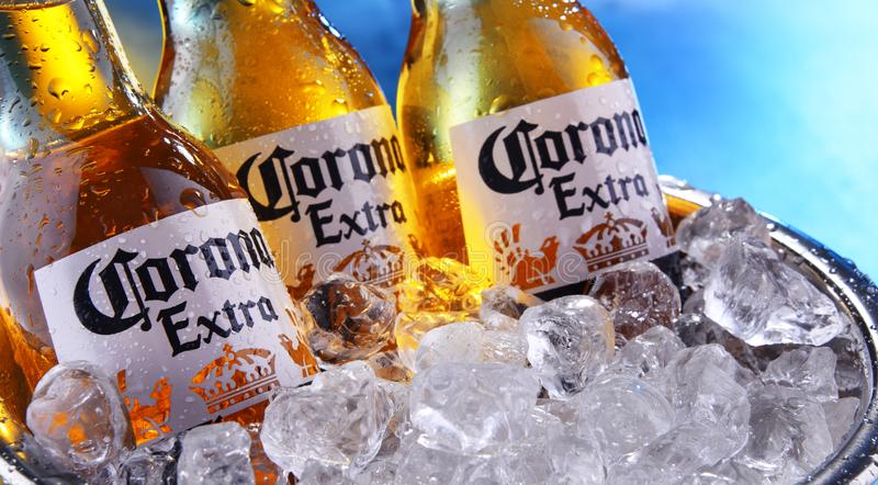 Bottles of Corona Extra beer in the bucket with crushed ice. POZNAN, POL - SEP 5, 2019: Bottles of Corona Extra, one of the top-selling beers worldwide, a pale royalty free stock photography