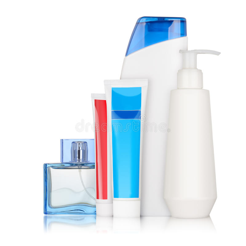 Bottles with cosmetics stock photography