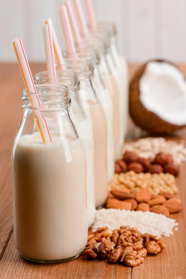 Bottles of dairy-free milk stock image