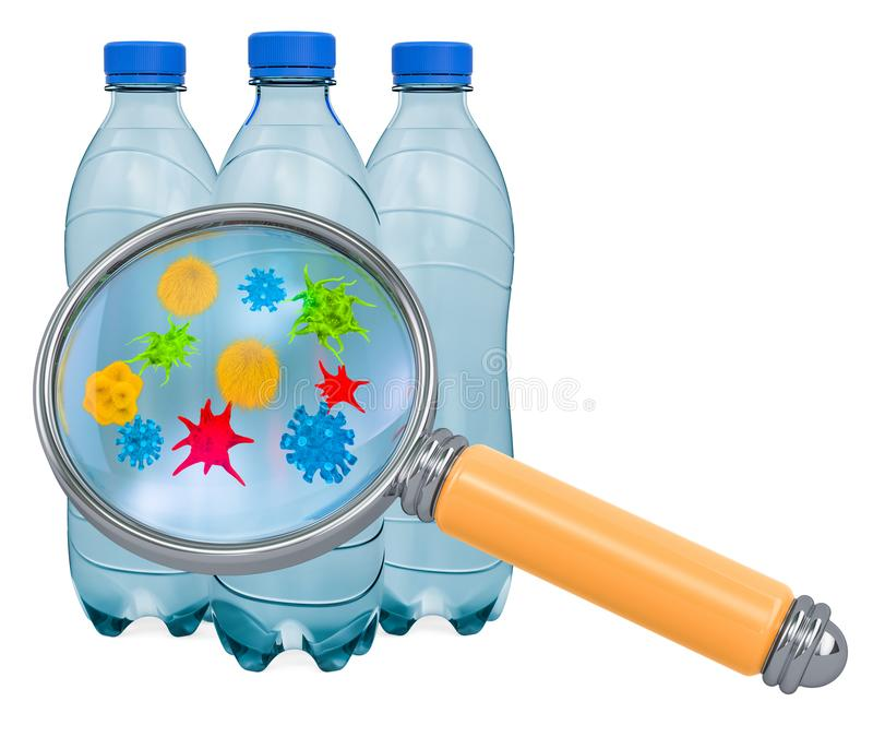 Bottles of drink water with germs and bacterias under magnifying glass. 3D rendering. Bottles of drink water with germs and bacterias under magnifying glass. 3D royalty free illustration