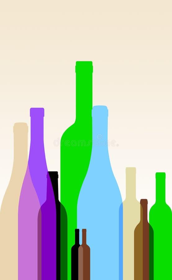 bottles färgrikt vektor illustrationer