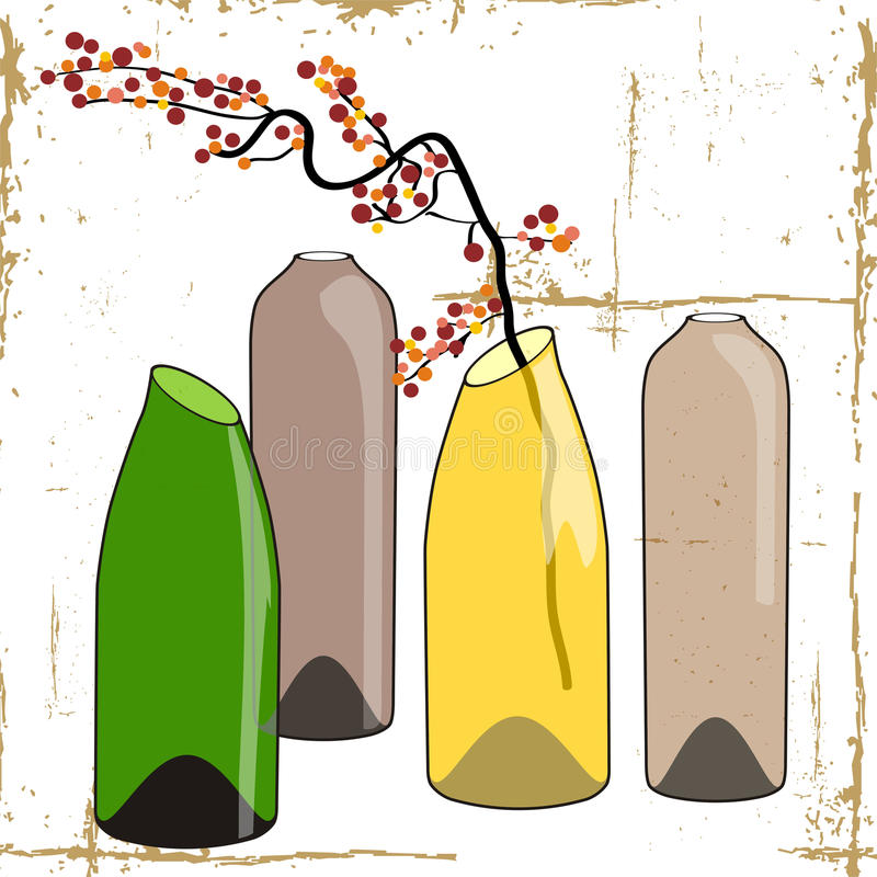 Bottles and flowers. Vector illustration with flowers and wine bottles stock illustration