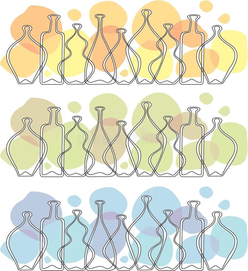 bottles frisexponeringsglas stock illustrationer